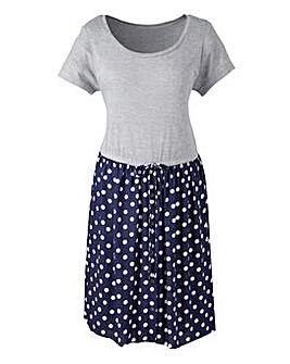 Spot Print 2-in-1 Smock Dress