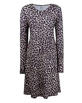 Petite Animal Print Jersey Swing Dress