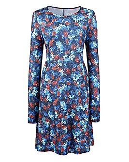 Petite Floral Print Jersey Swing Dress