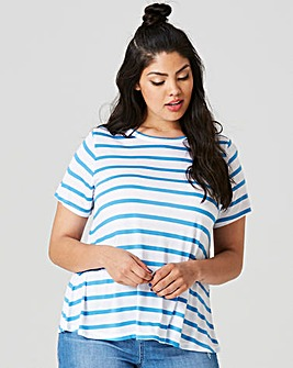 Blue Stripe Short Sleeve Swing T-shirt