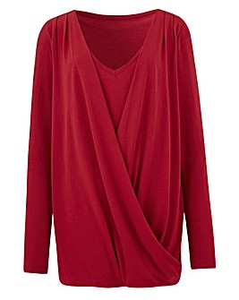 Cherry Wrap Front Jersey Top