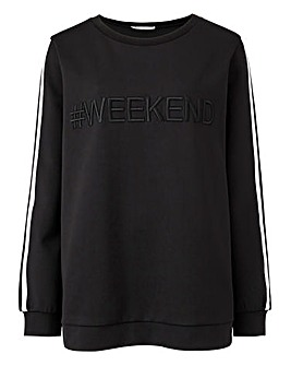 Weekend Black Slogan Scuba Sweatshirt