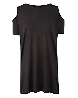 Black Short Sleeve Cold Shoulder Tunic
