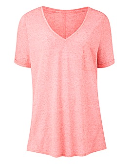 Soft Pink Linen Mix V-neck T-shirt