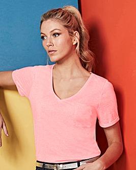 Soft Pink Linen Mix V-neck T-shirt