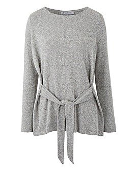 Grey Soft Touch Tie Front Jersey Top