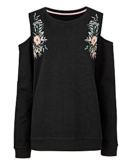 Embroidered Cold Shoulder Sweatshirt