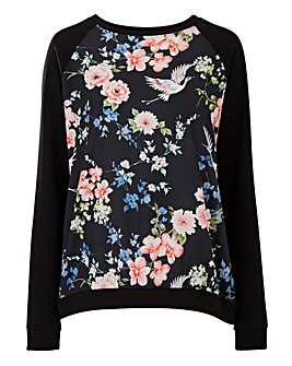 Floral Print Woven Contrast Sweatshirt
