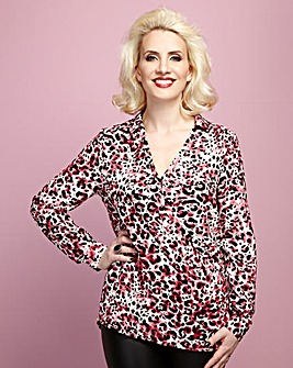 Claire Richards Wrap Front Print Blouse