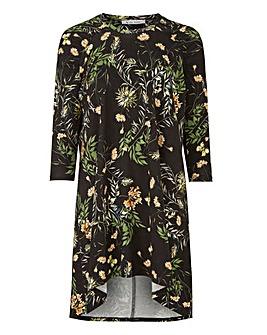 Black Floral Ruched Shoulder Tunic