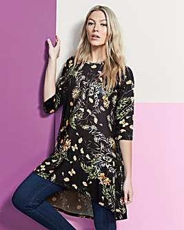 Black Floral Ruched Shoulder Tunic