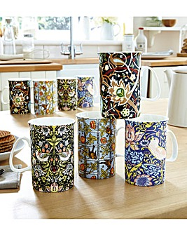 William Morris Porcelain China Mug Set 8