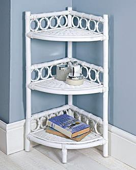 Rattan Corner Shelf Unit