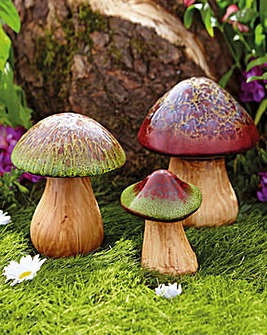 Porcelain Garden Toadstools Set of 3