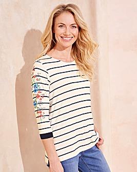 Stripe Printed Sleeve T-shirt
