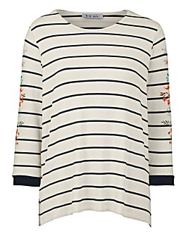 Stripe Printed Sleeve T-shirt
