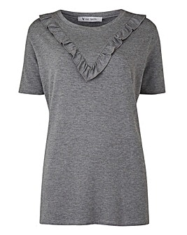 Grey Marl Chevron Ruffle T-shirt