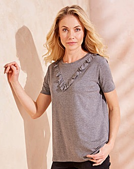 Grey Marl Chevron Ruffle T-shirt