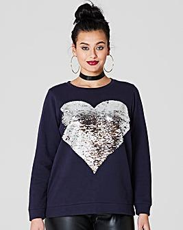 Navy Reversible Heart Sweatshirt