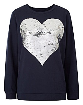 Navy Reversible Heart Sweatshirt