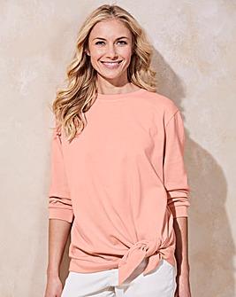 Pink Tie Waist Sweatshirt