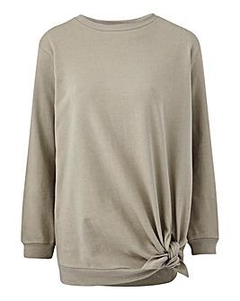 Khaki Tie Waist Sweatshirt