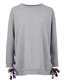Grey Marl Woven Tie Side Sweat