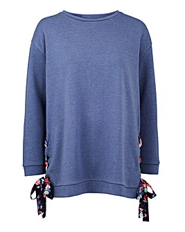 Denim Blue Woven Tie Side Sweat