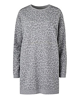 Grey Print Animal Longline Sweat