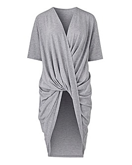 Grey Marl Wrap Ruched Tunic