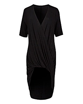 Black Wrap Ruched Tunic