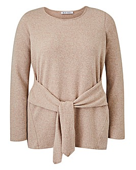 Oatmeal Soft Touch Tie Front Jersey Top