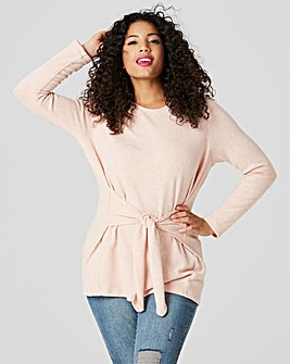 Pink Soft Touch Tie Front Jersey Top