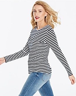 Navy/White Stripe Long Sleeve Top