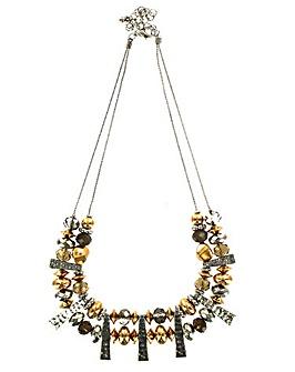 Double Row Metallic Bead Necklace