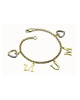 18ct Gold Plated Heart Charm Bracelet