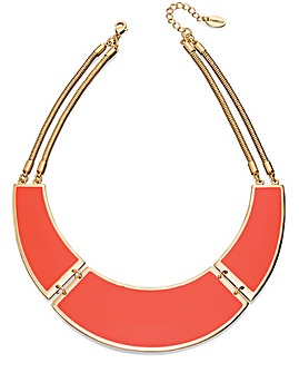 Orange Enamel Bib Necklace With Chain