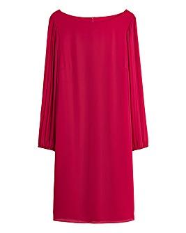 Pleat Long Sleeve Shift Dress