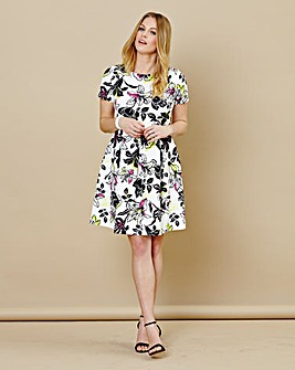Floral Scuba Short Sleeve Skater Dress