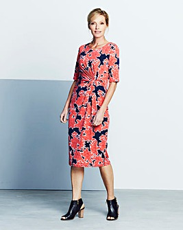 Navy Floral Print Twist Knot Dress
