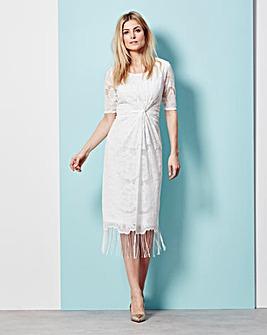 Fringed Lace Twist Short-Sleeve Dress