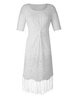 Fringed Lace Twist Short-Sleeve Dress