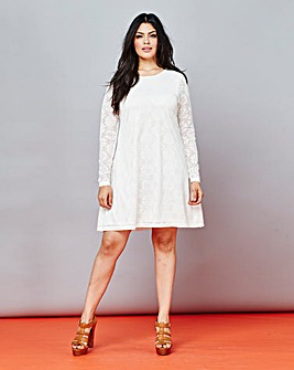 Daisy Lace Long-Sleeve Swing Dress