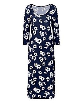 Black Floral Print Jersey Midi Dress