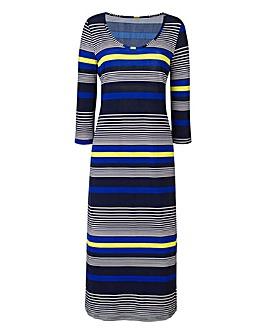 Navy/Lime Stripe Jersey Midi Dress 45in