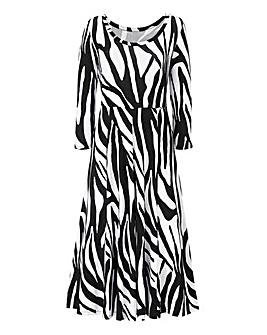 Zebra Print Jersey Midi Dress - L45