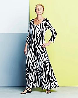 Zebra Print Jersey Maxi Dress