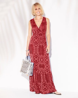 Rust Print Wrap Front Jersey Maxi Dress