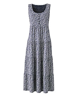 Navy Ditsy Print Maxi Dress 50in