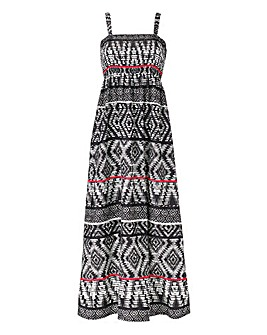 Tribal Print Shirred Maxi Dress 52in